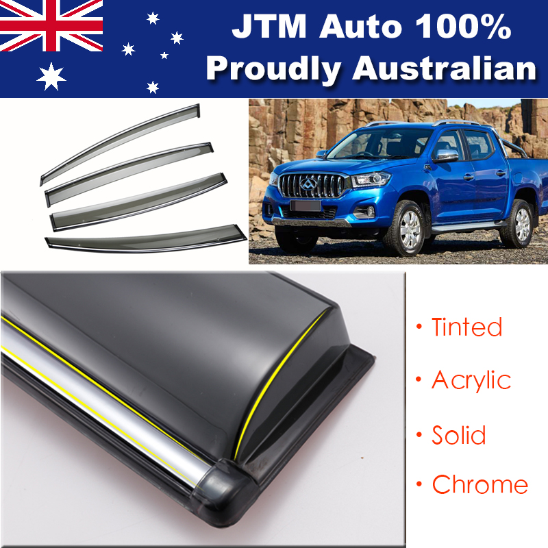 INJ Chrome Weather Shield Weathershield Window Visors to suit LDV T60 2017+