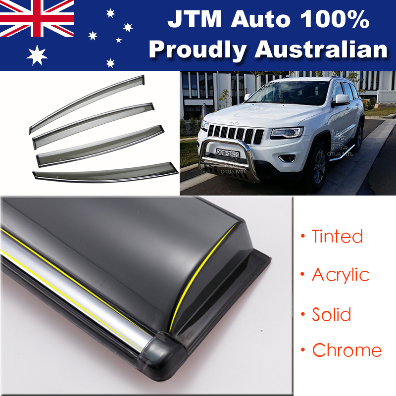 Chrome Weather Shield Weathershield Window Visor for Jeep Grand Cherokee 10-18