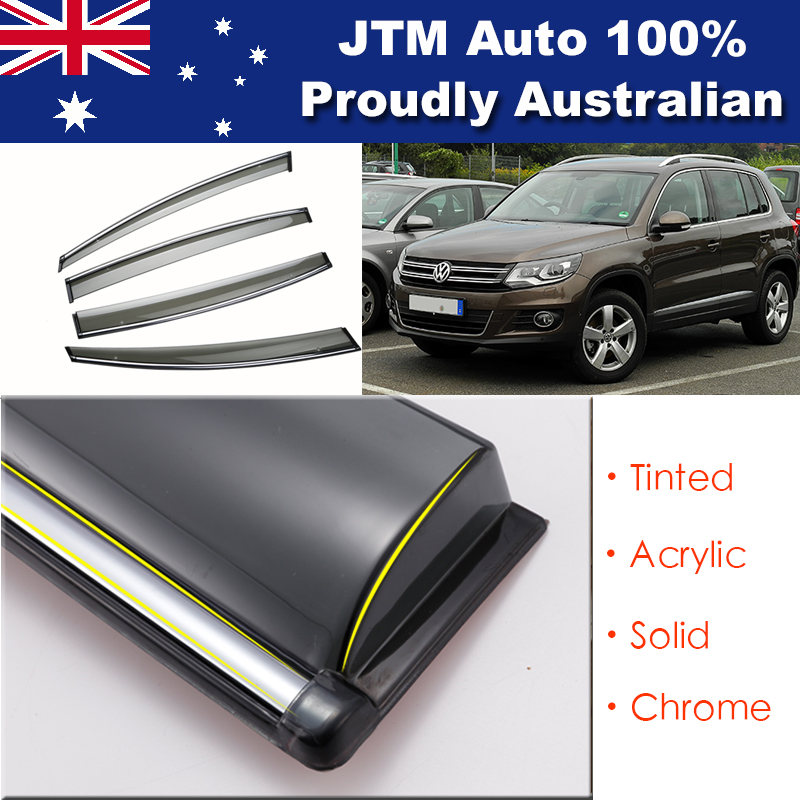Chrome Weather Shield Weathershield Window Visors for VW VOLKSWAGEN Tiguan 08-14