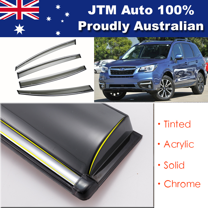 INJ Chrome Weather Shield Weathershield Window Visor For Subaru Forester 14-18