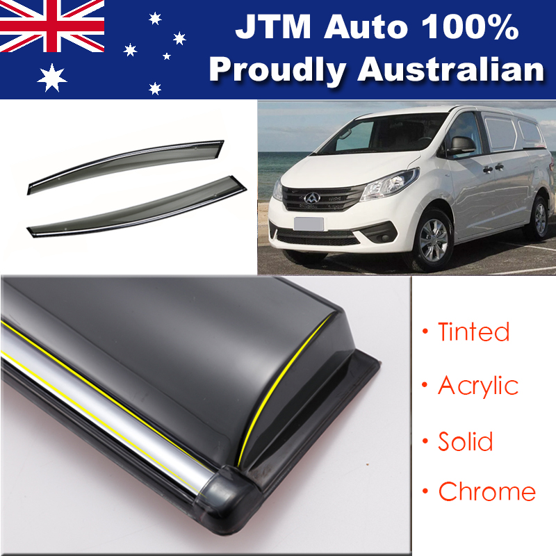 INJ Chrome Weather Shield Weathershield Window Visors to suit LDV G10 2016+