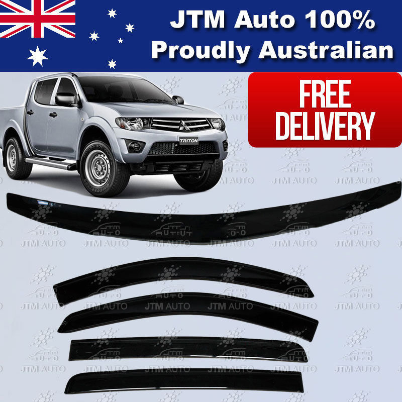 Bonnet Protector + Weathershields Visors Suit 2006-2015 Mitsubishi Triton MN ML