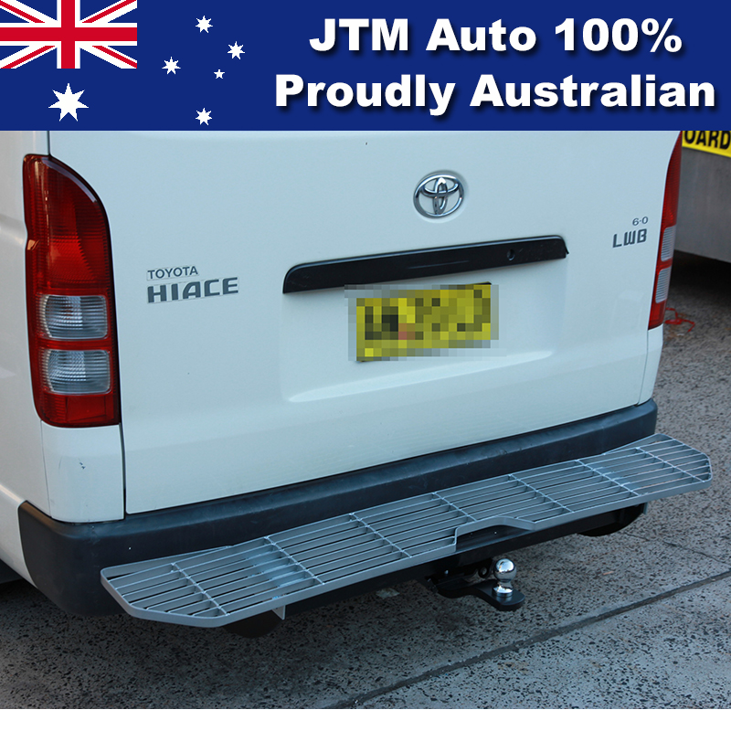 Alloy Rear Step Bumper Bar TOWBAR to suit Toyota Hiace 2005-2019 LWB Only