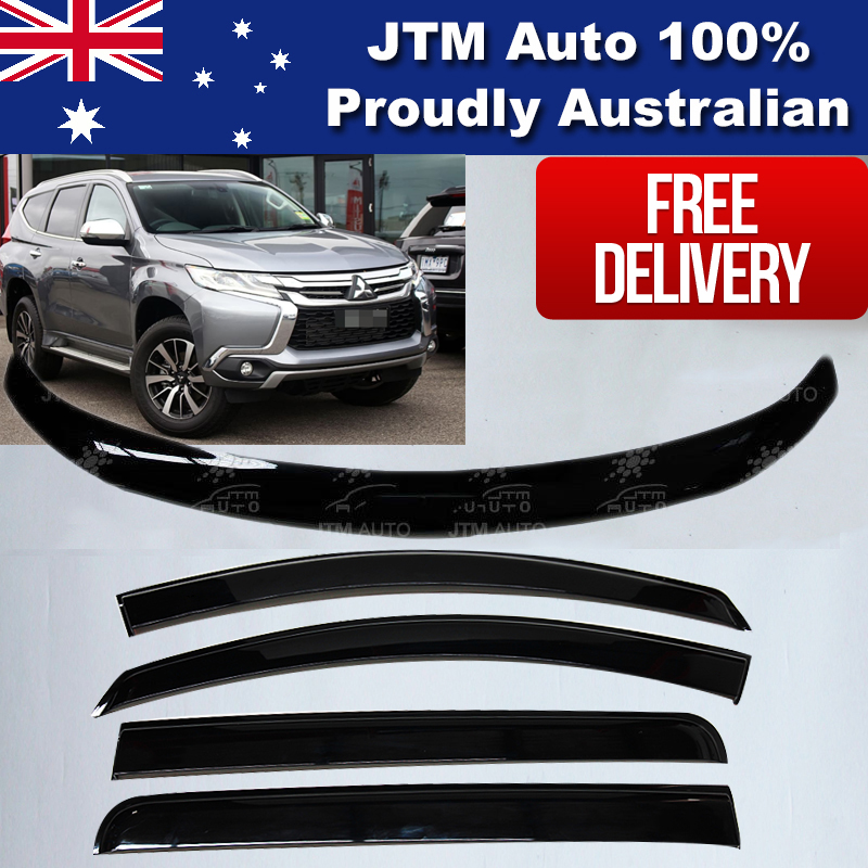 Bonnet Protector + Weathershields to suit Mitsubishi Pajero QE Sport 2016-2019