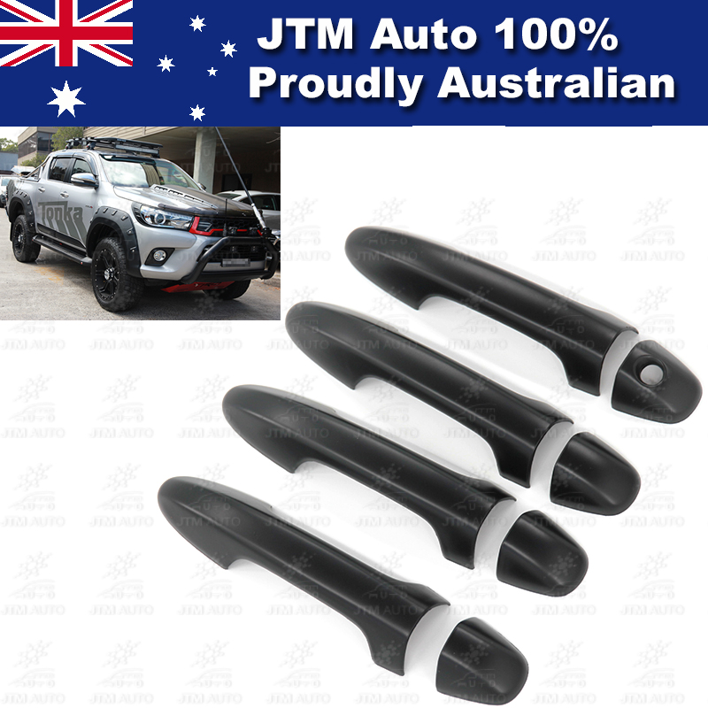 Matt Black Door Handle Cover Protector to suit Toyota Hilux 2015-2018