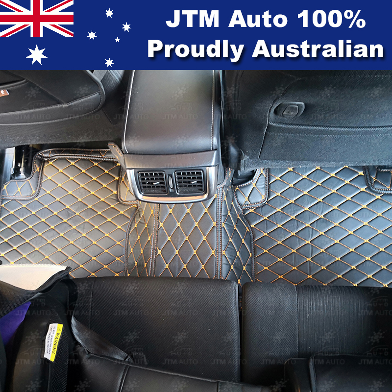 To suit Toyota Hilux 2015 - 2018 Black Orange 3D Leather Floor Mats
