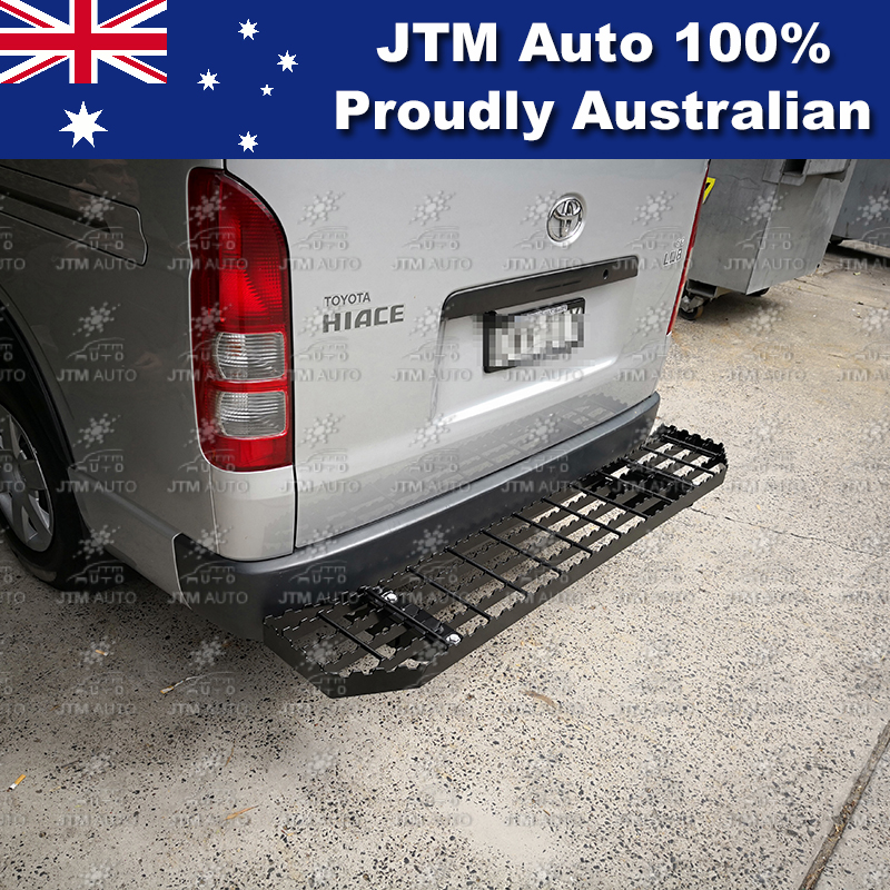 Rear Step Bumper Bar Black to suit Toyota Hiace 2005-2018 LWB Only