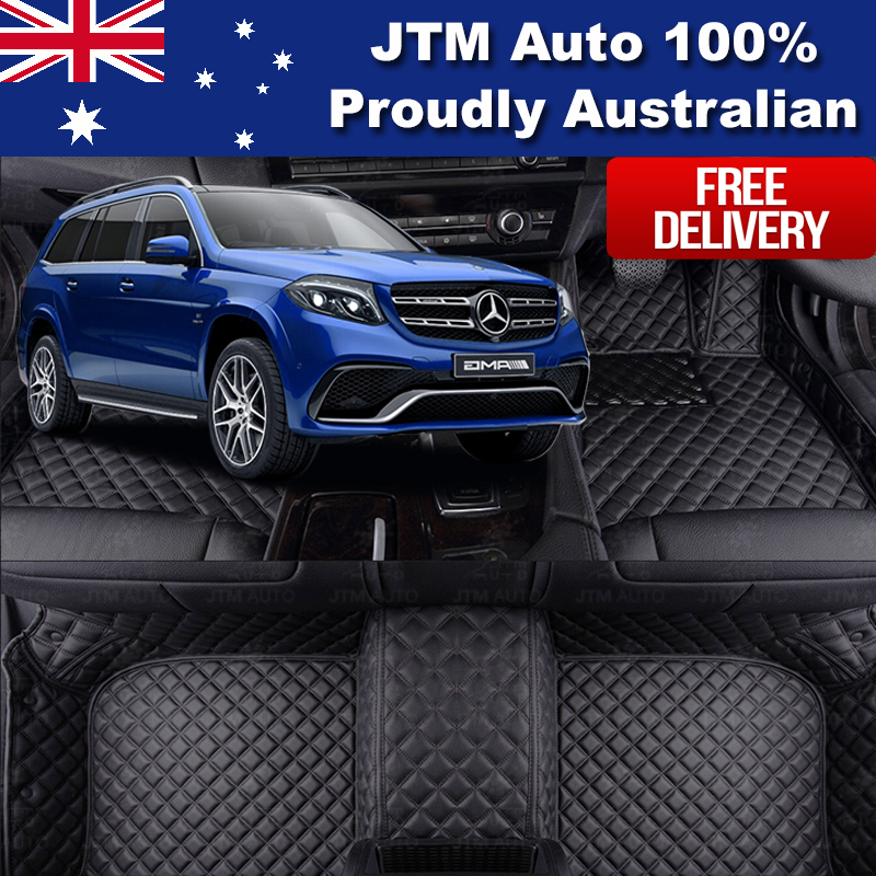 Custom Made to suit Mercedes Benz GLS X166 Leather Floor Mats Front + Rear 16-19