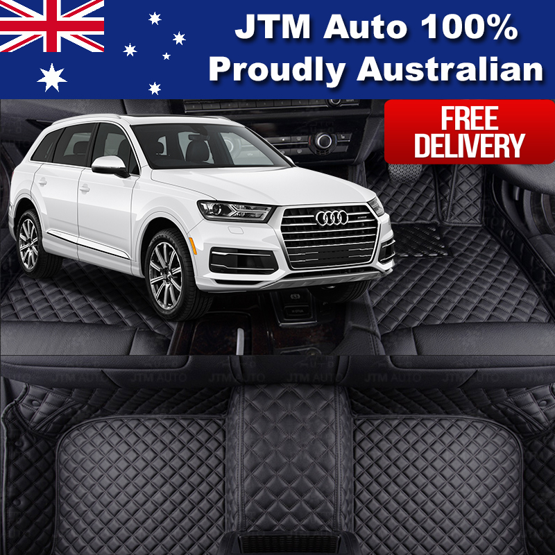 Custom Made Leather Floor Mats Front + Rear to suit Audi Q7 2016-2018