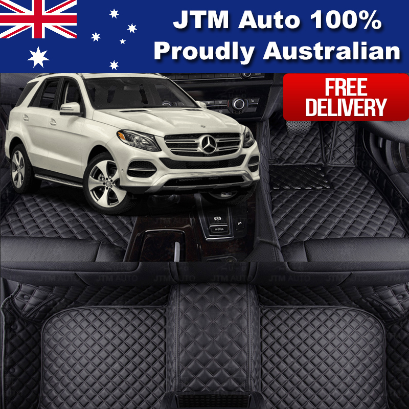 Custom Made For Mercedes Benz ML GLE W166 Leather Floor Mats Front + Rear 12-18