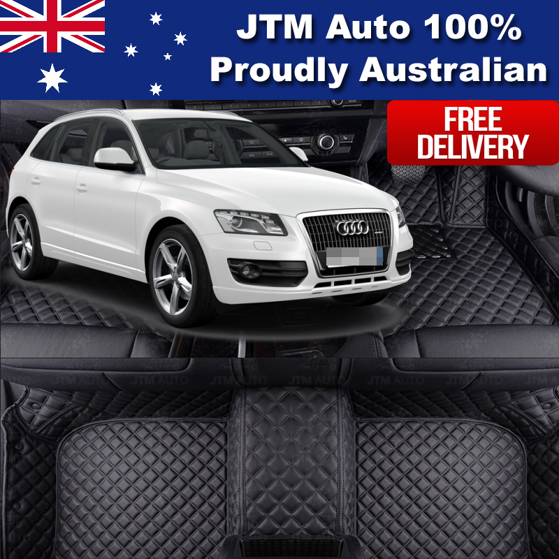 Custom Made Leather Floor Mats Front + Rear to suit Audi Q5 2009-2017