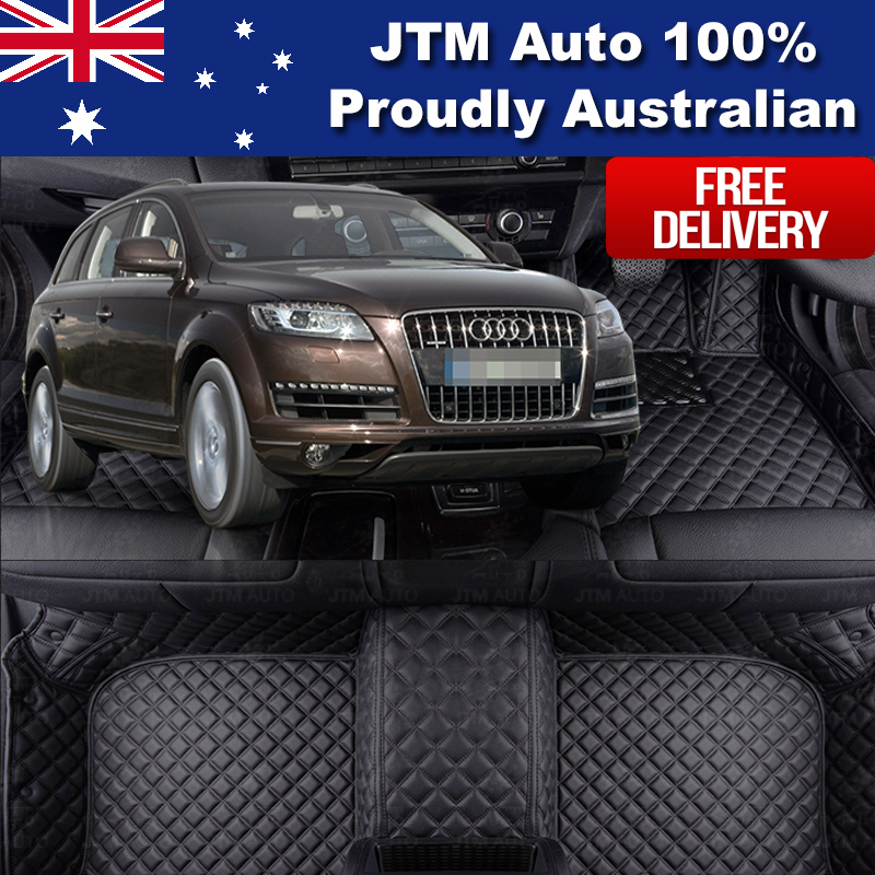 Custom Made Leather Floor Mats Front + Rear to suit Audi Q7 2006-2015