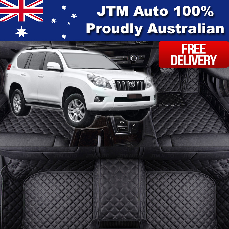 Custom Made Leather Floor Mats Front + Rear to suit Toyota Prado 150 2009-2018