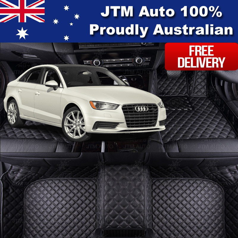 Custom Made Leather Floor Mats Front + Rear to suit Audi A3 2014-2018