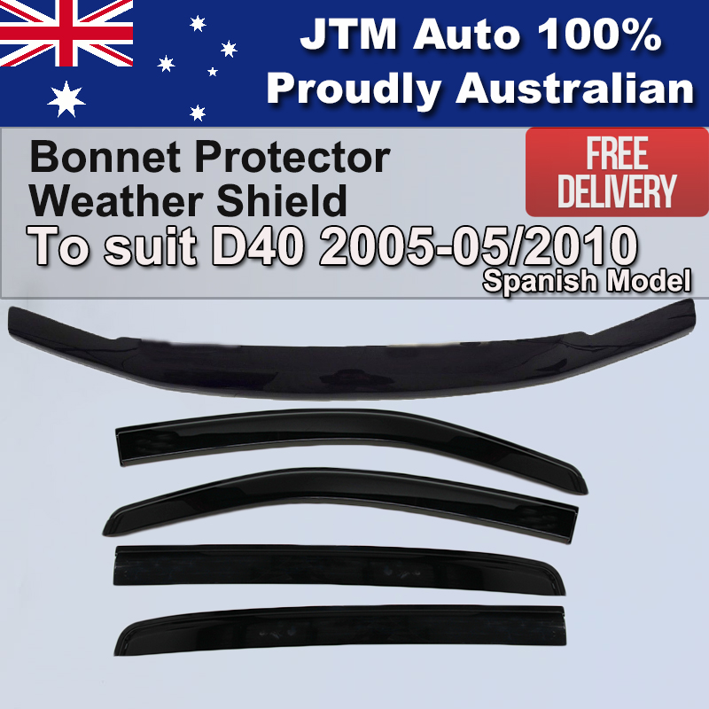 Bonnet Protector + Weathershields to suit Nissan Navara D40 2005-2010 Spanish