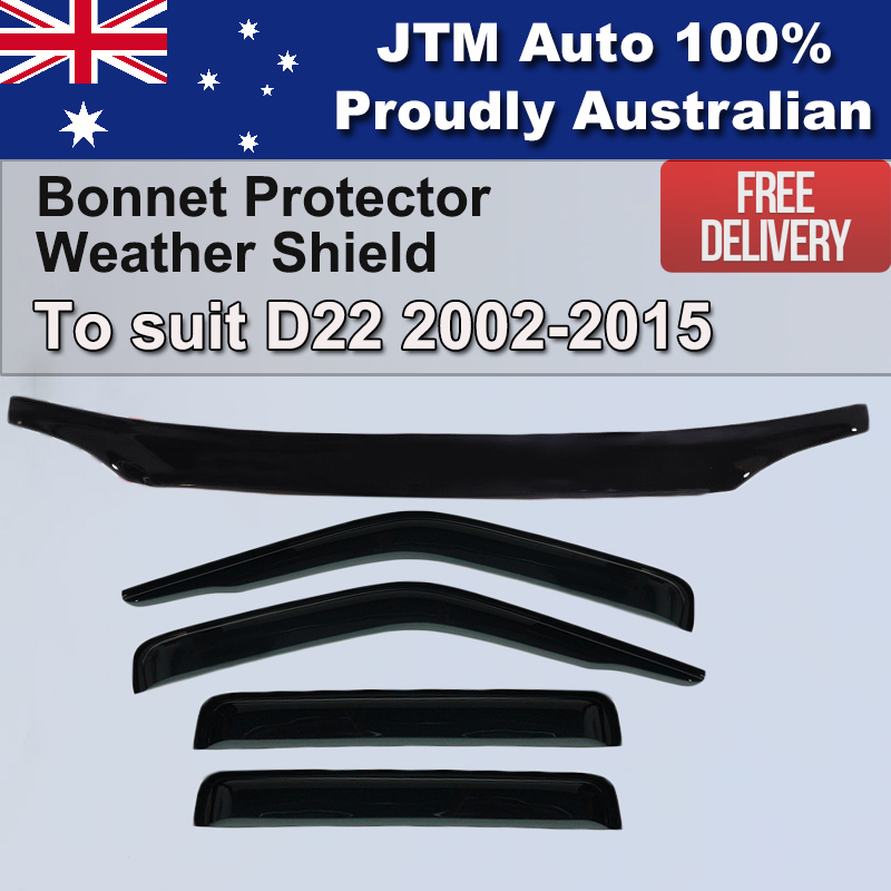 Bonnet Protector + Weathershields window visor to suit Nissan D22 2002-2015
