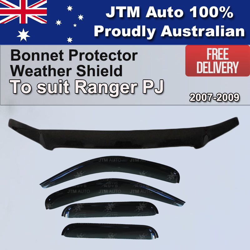 Bonnet Protector + Window Visor Weather shields to suit Ford Ranger PJ 2007-2009
