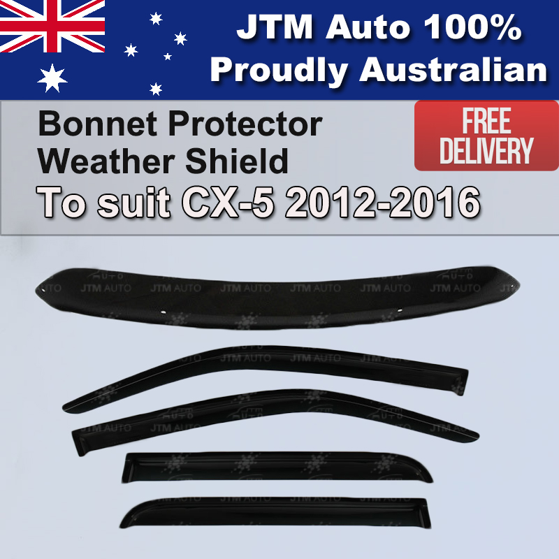 Bonnet Protector + Window Visor Weather shields to suit Mazda CX5 CX-5 2012-2016
