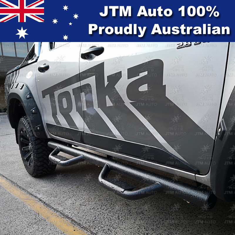 "Heavy Duty 3"" Black Steel Side Step Running Board to suit Toyota Hilux 2015-2019"