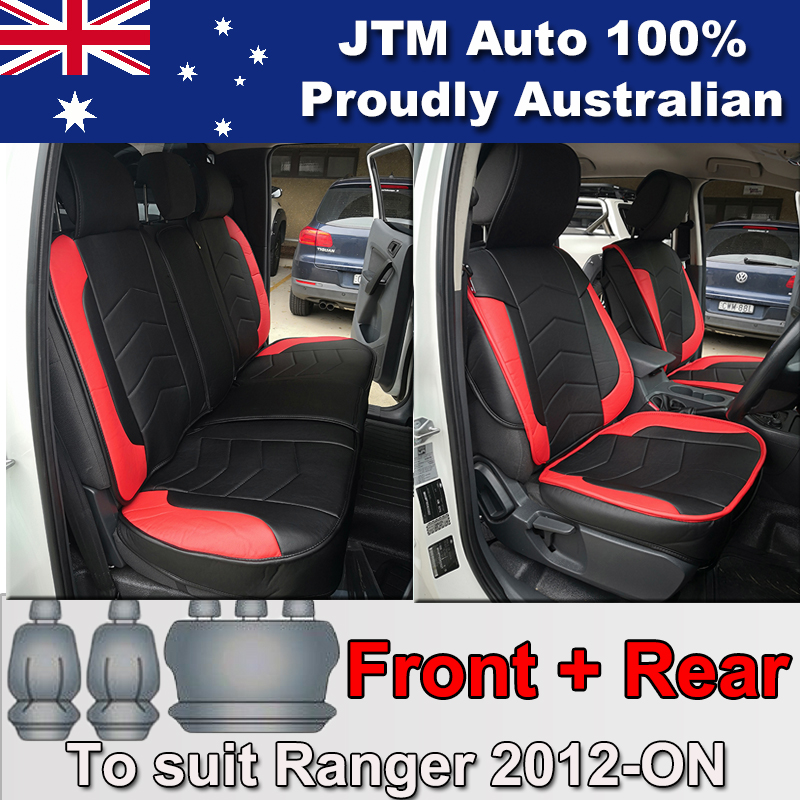 PREMIUM Red PU leather Waterproof Seat Covers for Ford Ranger PX 2012-2018