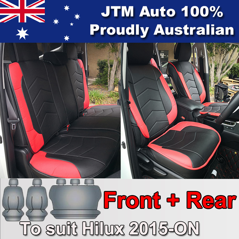 PREMIUM Red PU leather Waterproof Seat Covers to suit Toyota Hilux 2015-2018