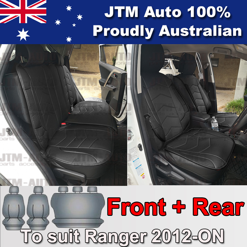 PREMIUM Black PU leather Waterproof Seat Covers to suit Toyota Rav4 2013-2018