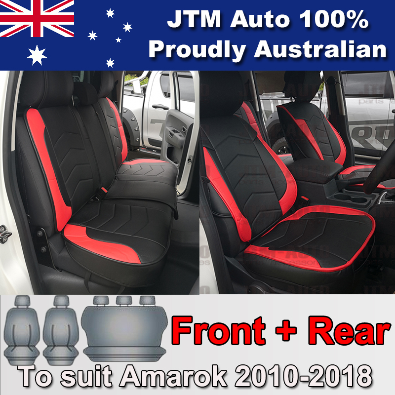 PREMIUM Red PU leather Waterproof Seat Covers for Volkswagen Amarok 2010-2018
