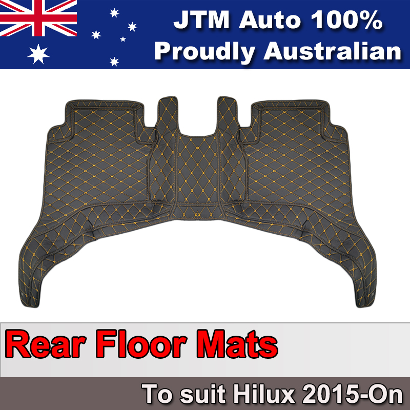 Black Orange 3D Leather Rear Floor Mats suitable to Toyota hilux 2015-ON