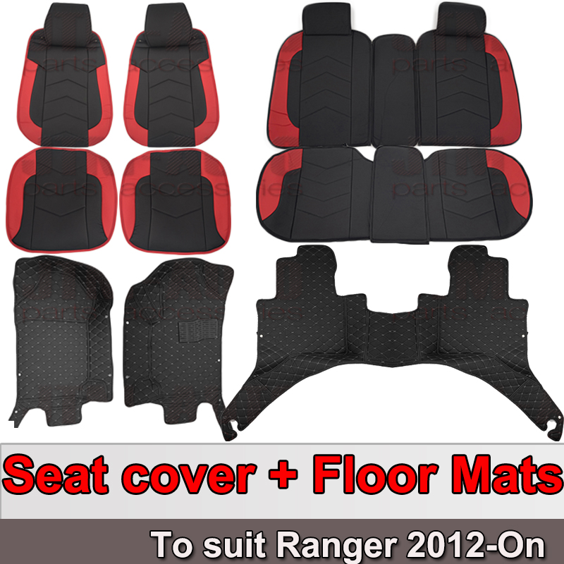 Custom Fits Waterproof Seat Covers + Floor Mats for Ford Ranger 2012-2018