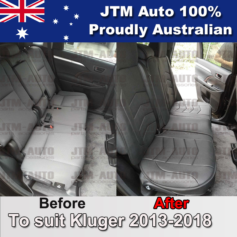 PREMIUM Black PU leather Waterproof Seat Covers to suit Toyota Kluger 2013-ON
