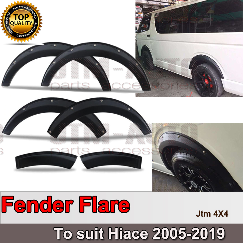 Matte Black 6 Pcs Fender Flares Wheel Arch to suit Toyota Hiace 2005-2019