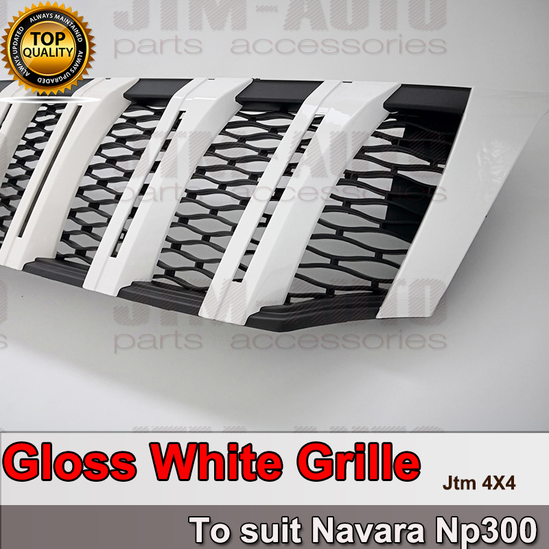New Front Gloss White Grill Grille to suit Nissan Navara NP300 D23 2015- 2019
