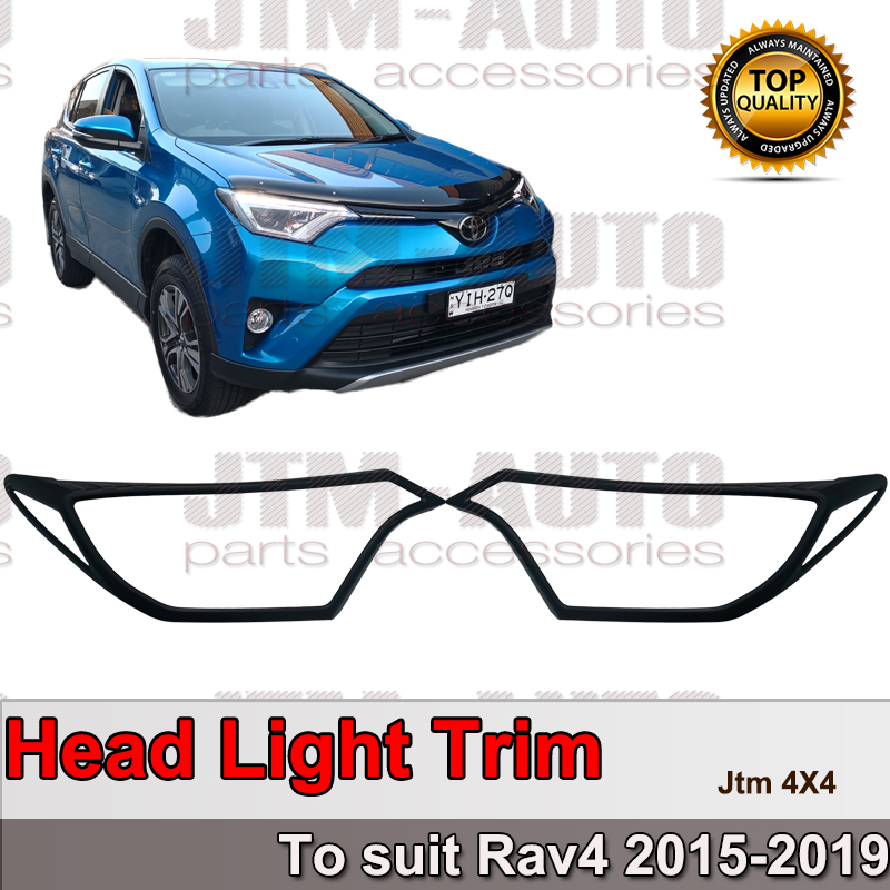 Black Head Light Cover Protector Trim to suit Toyota Rav4 2015-2019