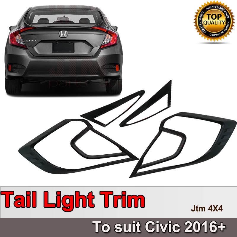 Black Tail Light Cover Protector Trim to suit Honda Civic 2016+