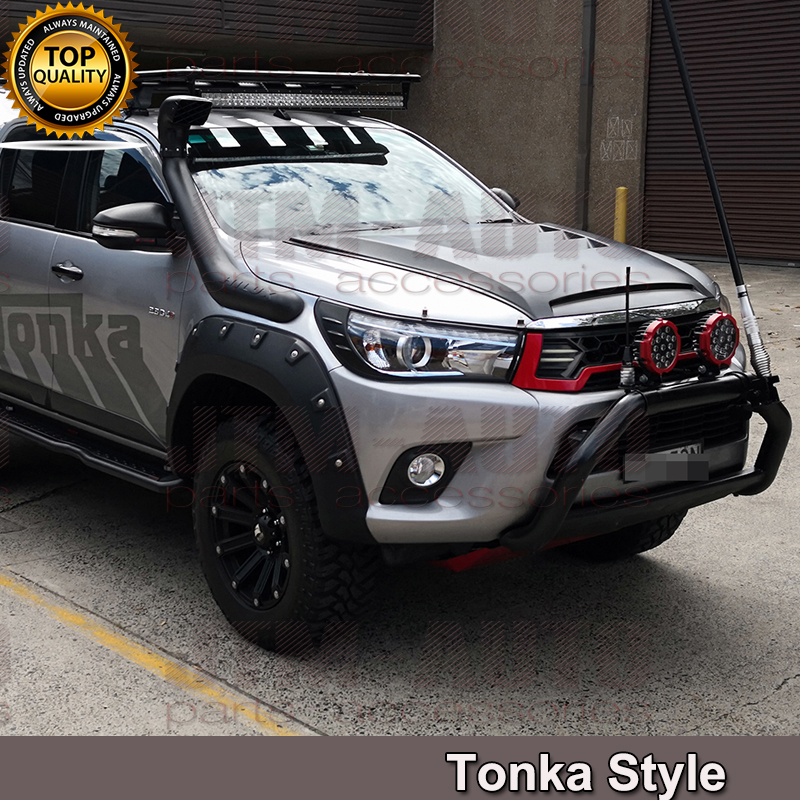 Tonka Style Black Bonnet Scoop Hood to suit Toyota Hilux 2015-2019
