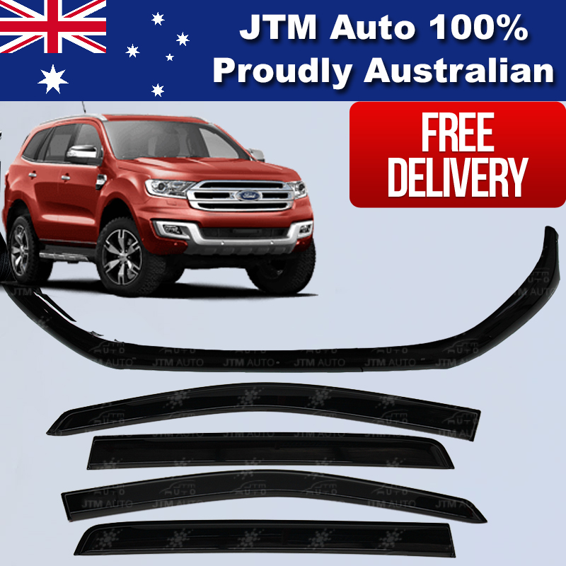 Bonnet Protector + Window Visors Weather shields to suit Ford Everest 2015-2019