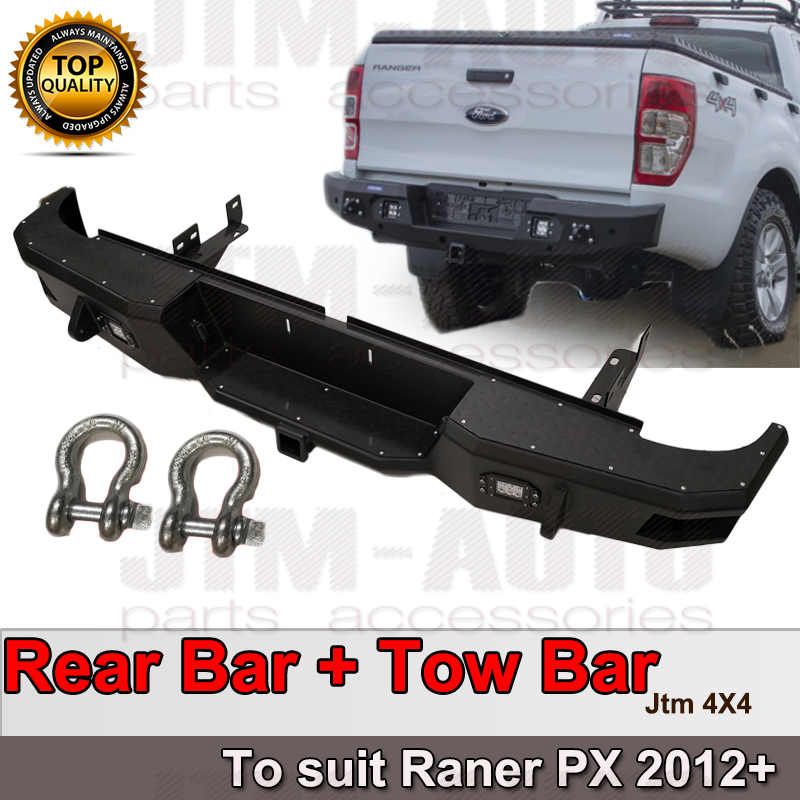 Heavy Duty Matte Black Steel Rear Step Bar Tow Bar Bumper For Ford Ranger  12-19
