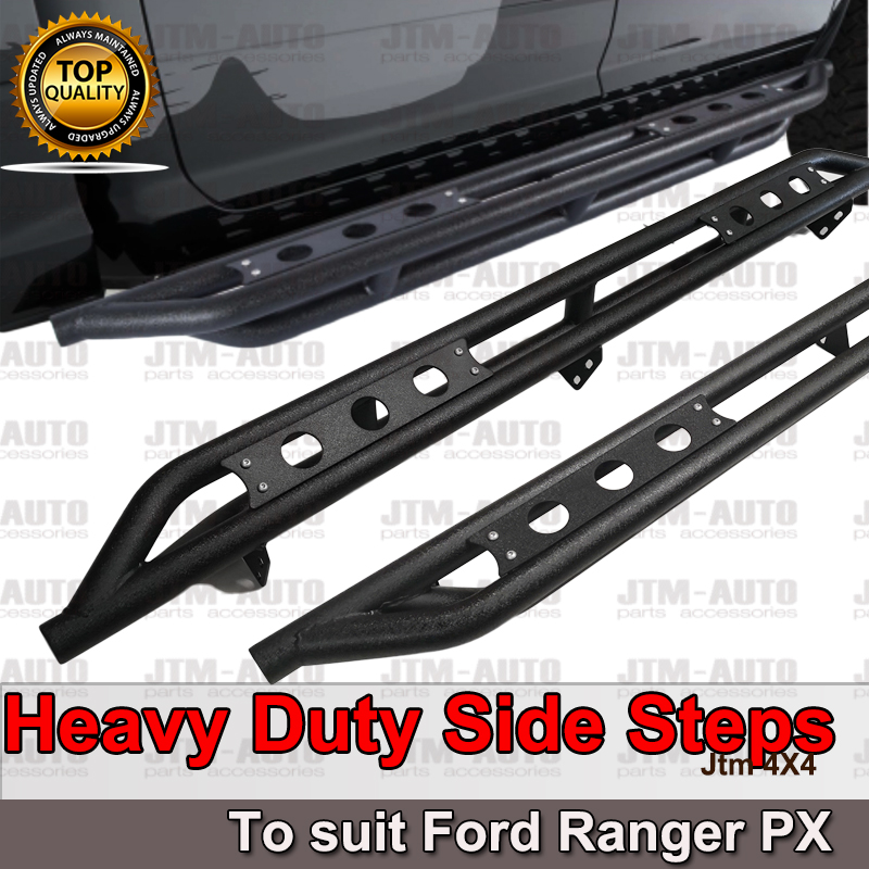 Heavy Duty Armor Black Off road Side Steps to suit Nissan Navara NP300 D23 15-19