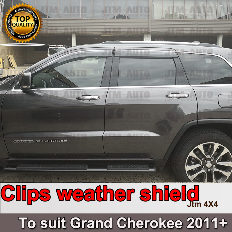 Chrome Weather Shield Weathershield Window Visor for Jeep Grand Cherokee 10-19