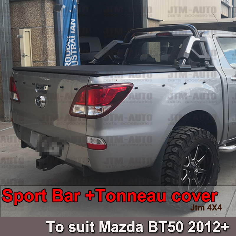 Black Roll Sport Bar + Folding Tonneau cover to suit Mazda BT-50 BT50 2012-2019