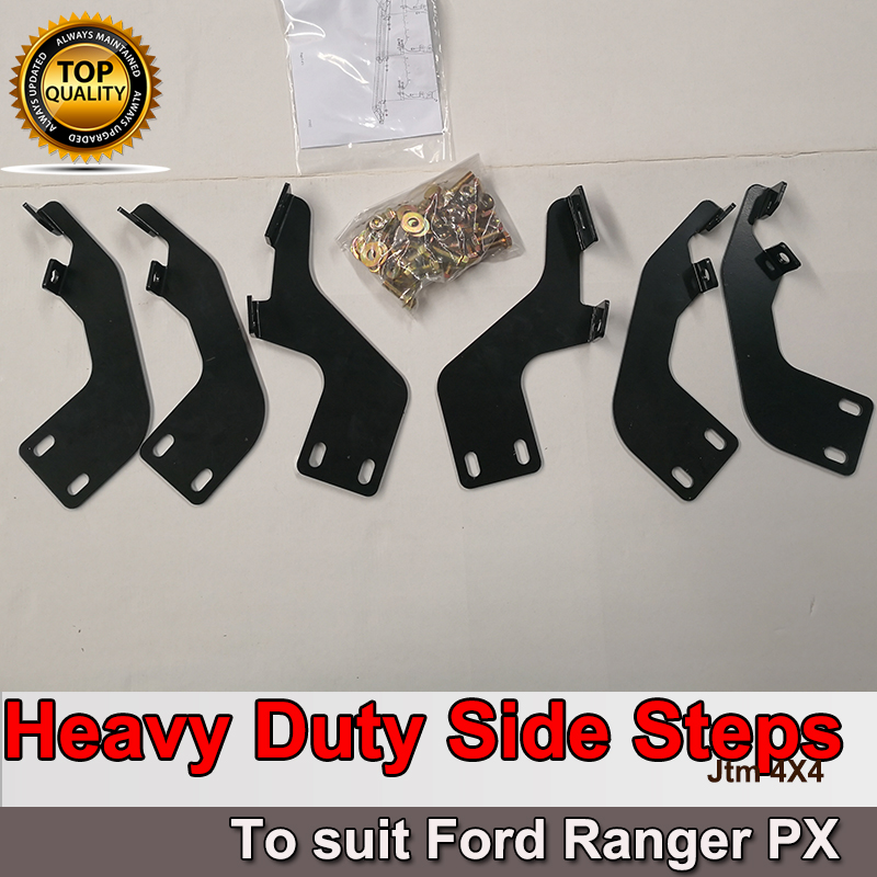 Heavy Duty Armor Steel Black Off road Side Steps suits Ford Ranger PX 2012-2019