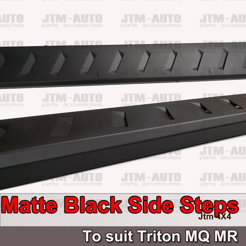 Heavy Duty Steel Black Off road Side Steps suit Mitsubishi Triton MQ MR 2015+