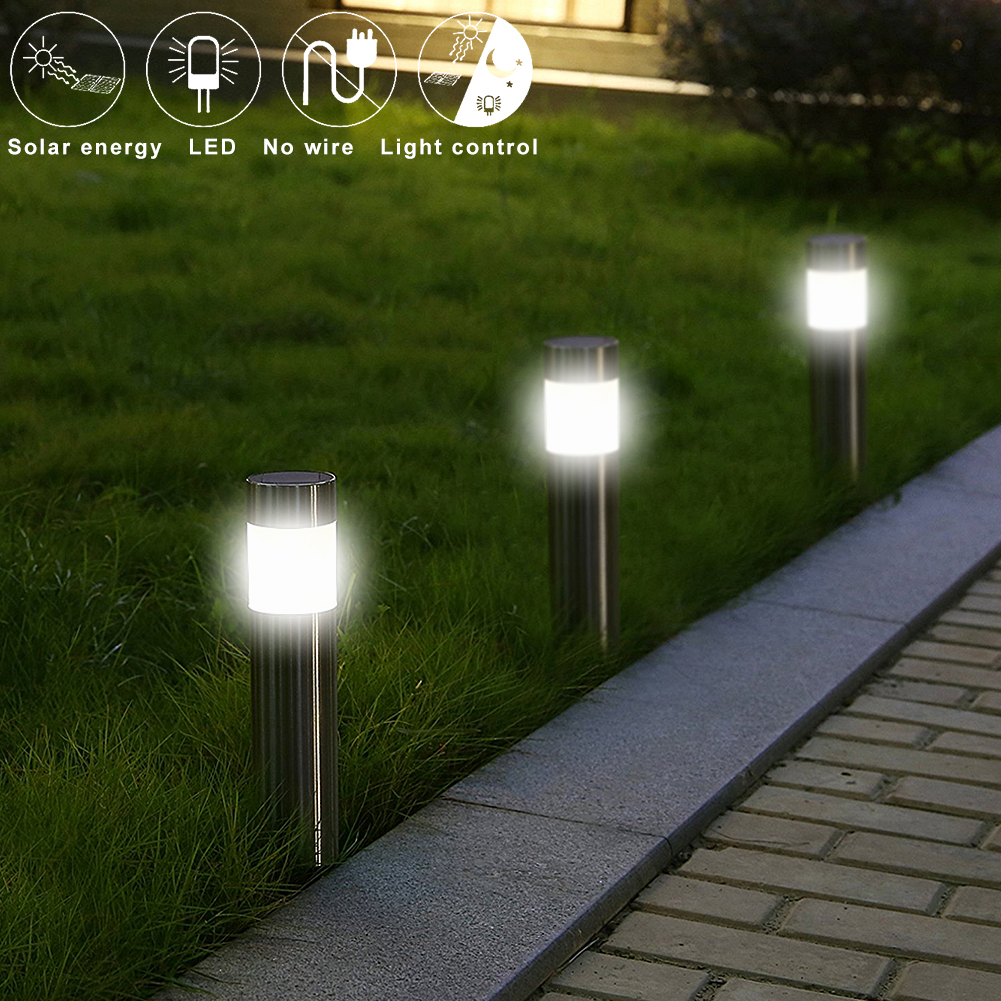 Details About Stainless Steel Pathway Led Solar Light Outdoor Garden Path Landscape
