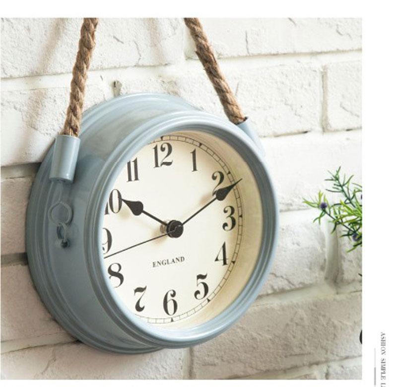 Nordic Modern Minimalist Wall Clock Living Room Metal Rope Hanging