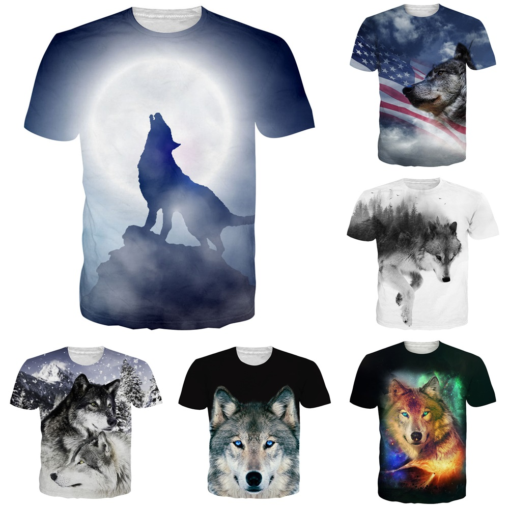 05f3ef648 Animal Wolf 3D Print Men/Women Casual Summer Short Sleeve T-Shirt Crew Neck  Tee