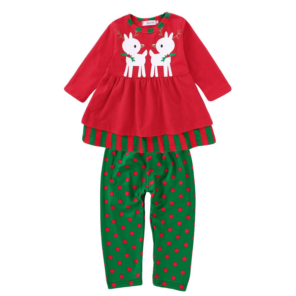 Baby Kids Toddlers Xmas Santa Elk Suit Nightwear Pajamas Sleepwear Top +  Pants a5f4174d6