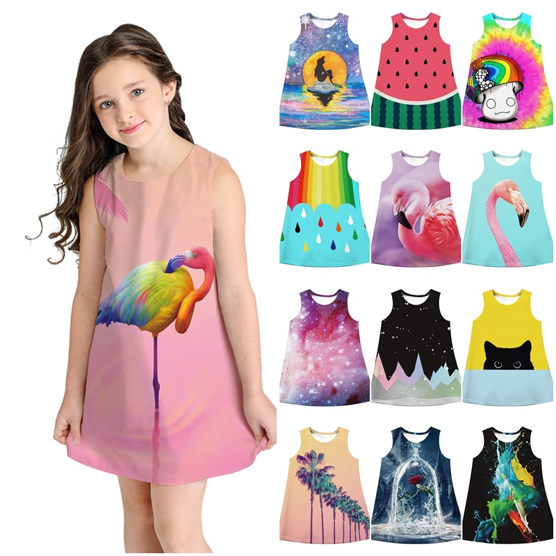 Kids Grils Unicorn Flamingo Print Short Sleeve Princess Swing Mini Tutu Dress