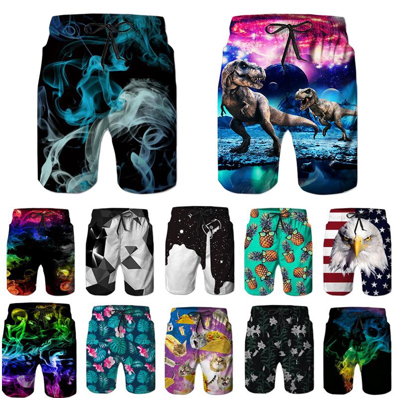 3D Swimming Trunks Board Shorts for Men Galaxy Voyage Black White Cat Boy Mens Swim Trunks Surf Pants