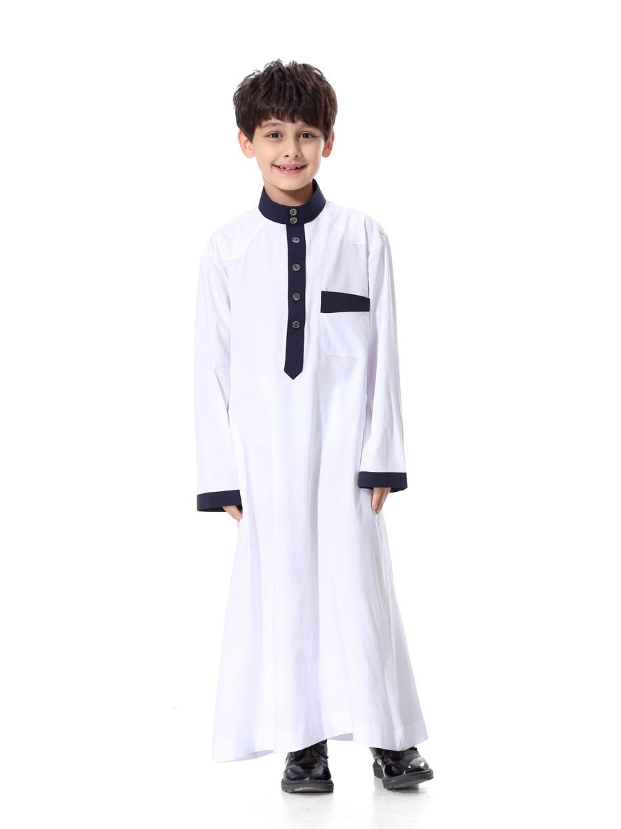 Classic Boys Kids Saudi Coat Arab Robe Dishdasha Islamic Clothing
