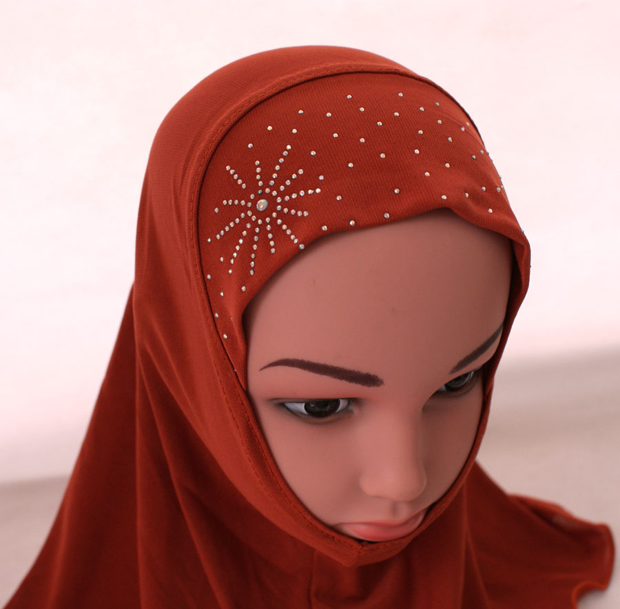 Girls-Kids-Muslim-Hijab-Hats-Islamic-Arab-Scarf-Caps-Shawls-Amira-Headwear-3-8Y thumbnail 78